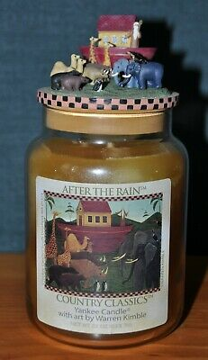 Rare Yankee Candle After The Rain Warren Kimble 22 Oz Jar Topper Set Noah