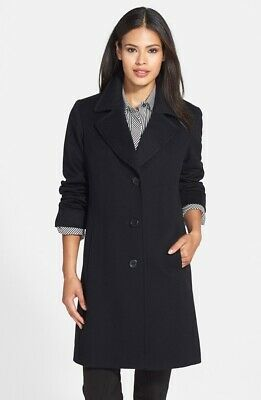 New Womens Fleurette Notch Collar Wool Walking Coat Black Size 16 Retail $1049