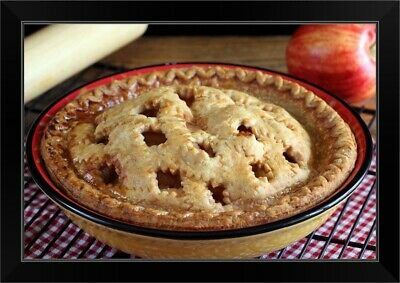 """""""home Baked Apple Pie On Cooling Rack With Apple And Rolling Pin"""" Black Frame"""
