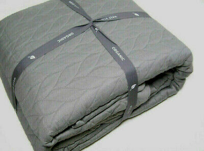 West Elm Gray Organic Cotton Braided Matelasse Full Queen Duvet Cover New