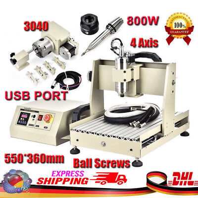 Usb Cnc 4 Axis 800w 3040 Steel Metal Router Engraving Milling/cutting Machine Us