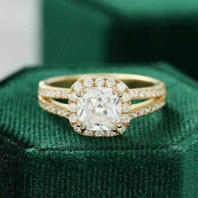2.00 Ct Cushion & Round Cut Diamond Halo Engagement Ring 14k Yellow Gold Over