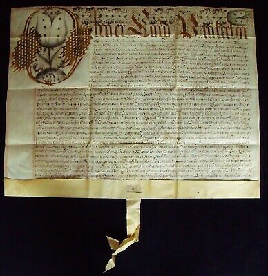 Extremely Rare. Oliver Cromwell. Lord Protector Recovery Vellum Document 1656