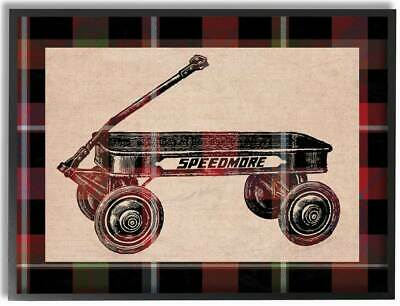 Radio Flyer Plaid Framed Giclee Texturized Art [id 3619740]