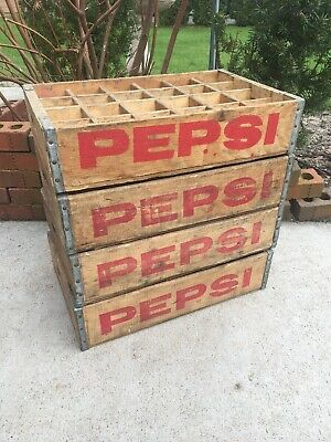 Lot Of Four Crates - Vintage Wooden Soda Crate Pepsi Cola Wood Box      4