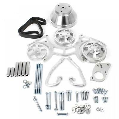 Small Block Chevy Sbc 350 Billet Aluminum Complete Serpentine Engine Pulley Set