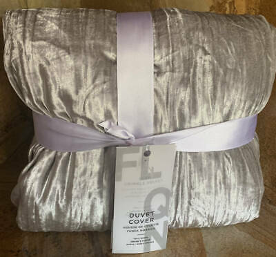 New~west Elm Lush Crinkle Duvet Cover~platinum Gray~full Queen F/q