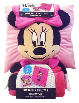 New Disney Junior Minnie Mouse Character Pillow & Throw Blanket Set Kids Gift!