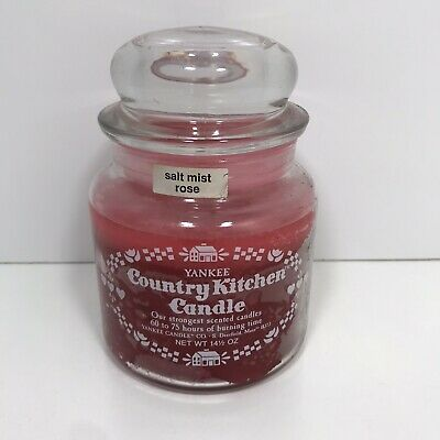 Vtg Rare Yankee Candle Country Kitchen Salt Must Rose 14.4 Oz 60-75 Hrs Retired
