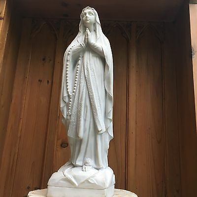 Marble Virgin Mary,  Madonna Statue.  Our Lady. Notre Dame. Antique.
