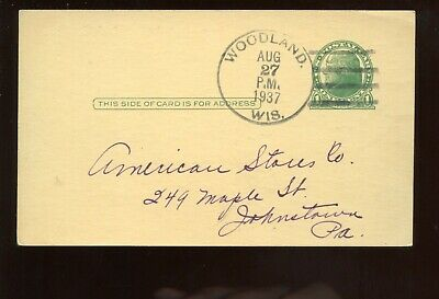 Us Advertising Postal Card (cheese) 1937 Woodland, Wisconsin To Johnstown, Pa