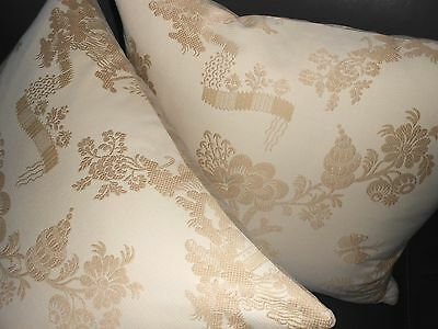 Scalamandre Fabric Throw Pillow Covers Mei Ling Beige Ivory Chinoiserie New Two