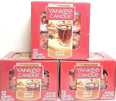 Yankee Candle 3x Boxes Of Apple Cider Tea Light Candles - Free Ship