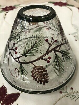 Yankee Candle Crackled Glass Shade With Pine Cones And Berries
