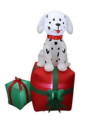 5 Foot Tall Christmas Inflatable Dalmatian Puppy Dog On Gift Box Outdoor Indoor