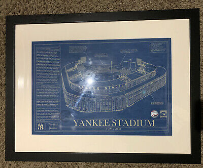 Yankee Stadium 1923 - 2008 Blueprint Framed Cooperstown Collection Mlb Rare