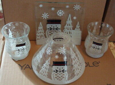 Yankee Candle Jackson Frost Large Shade Topper Plate Votive Holders Snowman Htf