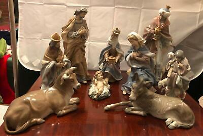 Large Lladro Porcelain 9 Piece Nativity Set (retired In Mint Condition)