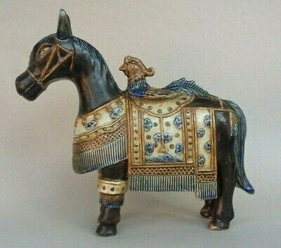 Antique Glased Ceramic Porcelain Figurine Horse With Rooster
