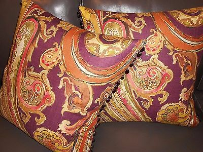Kravet Throw Pillows Large Paisley Design Watercolor Effect Cotton Linen New Two