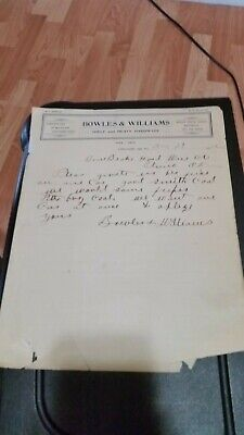 1902 Comanche Indian Territory Letterhead Bowles & Williams John Deere Goods