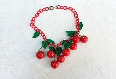 Vintage 1930s 40s Bakelite Cherries & Celluloid Leaves Necklace
