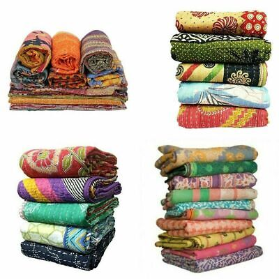 100 Pc Lot Indian Kantha Vintage Blanket Throw Quilt Hippy Bohemian Bedspread