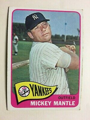 1965 #350 Mickey Mantle Yankee Hof Vg Crease On Back Ships In Ultra Pro 1 Screw
