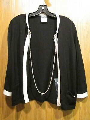 chanel authentic black cashmere cardigan blouse top sweater sz 38 new