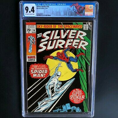 Silver Surfer #14 (1970) 💥 Cgc 9.4 💥 Classic Spider-man Battle Cover!