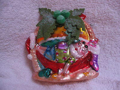 Santa In Hammock Under Palm Tree Glass Ornament Tropical Tiki Beach Ocean Coast