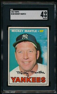 1967 Topps Mickey Mantle Sgc 4 Vg-ex #150 Yankee Hofer Free Shipping