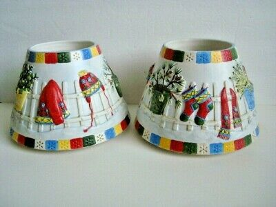 2 Yankee Candle Jar Shade Topper Winter Christmas Vintage Large 6 1/2 Inch