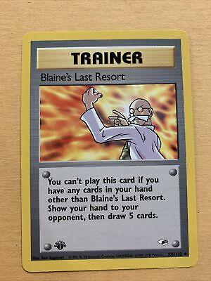 Pokemon Gym Heroes 1st Edition Trainer Blaine's Last Resort 105/132 Uncommon