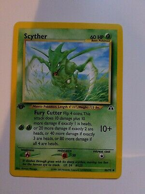Scyther 46/75 - 1st Edition Non Holo Neo Discovery  Set Pokemon Card NM
