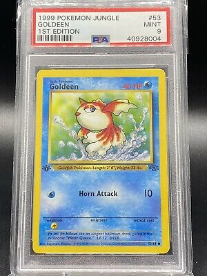 🔥1999 RARE BASE SET 1st ED. GOLDEEN PSA 9 💎 Pokemon TCG - *Jungle* 💪CARD💪 💦