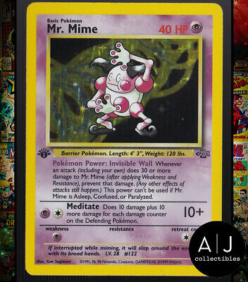Mr. Mime 6/64 1st Edition Jungle Set Holo Pokemon Card TCG EX/NM