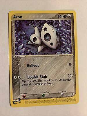 Aron Pokemon Card 2003 25/109 EX Ruby & Sapphire Uncommon Great Condition