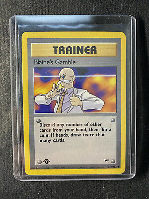 Blaine's Gamble 121/132 1st Edition Gym Heroes Trainer Pokemon Card NM/M