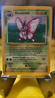 Venomoth - 1999 Pokemon Jungle - #13/64 - Rare Holo, NO SET SYMBOL ERROR