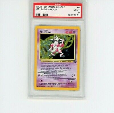 Pokemon PSA 9 MINT 1999 Mr. Mime Jungle Unlimited Holo 6/64
