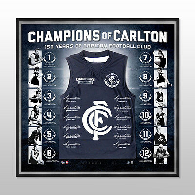 Champions Of Carlton 150th Year Signed Jersey Framed - Official Coa