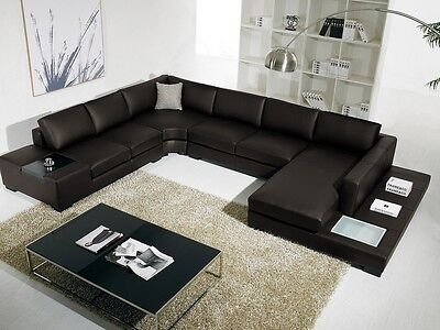 Black Sectional Sofa T35 Vig Contemporary Bonded Leather