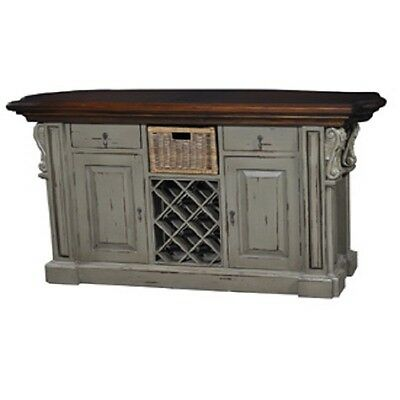 kitchen island cottage farmhouse distressed corbels pearl green distressed