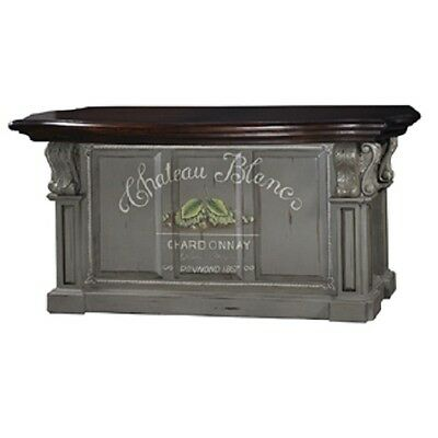 Kitchen Island Cottage Distressed Corbels Moss Green With Aged Mahogany Top