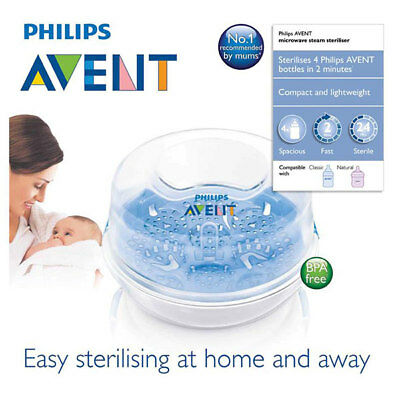 Avent Express Microwave Steam Steriliser Baby Bottle Steam Scf282/01