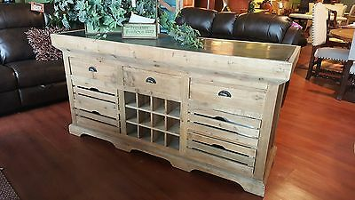 Distressed Old Pine Kitchen Island Counter Bluestone Top With Wine Rack As Is J