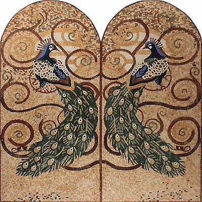 Symmetrical Twin Peacocks Love Wall Hanging Home Decor Marble Mosaic An727