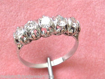 Vintage 1ctw Transitional Diamond Platinum Classic 5 Stone Ring 1950
