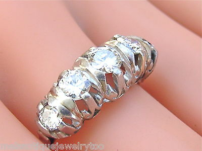 Vintage 1.55ctw Transitional Diamond Platinum Classic 5 Stone Ring 1950 Size 8
